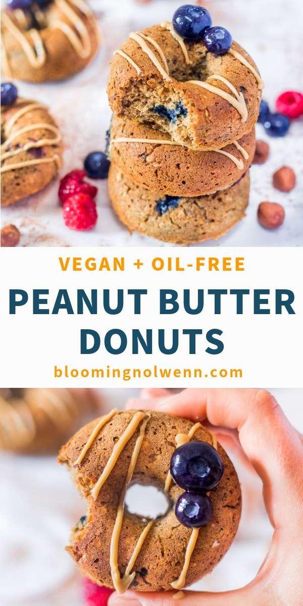 Blueberry Peanut Butter Baked Donuts - vegan