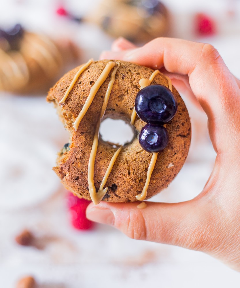 Blueberry Peanut Butter Baked Donuts
