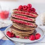 pancakes fourrés aux framboises