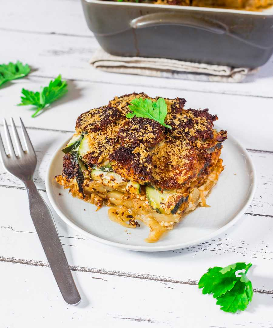 vegan zucchini and potato gratin