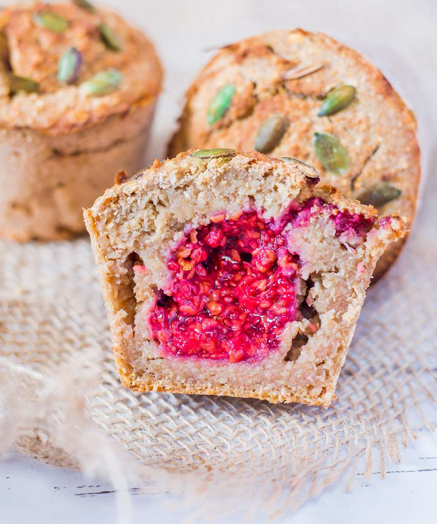 Raspberry Filled Oatmeal Muffins
