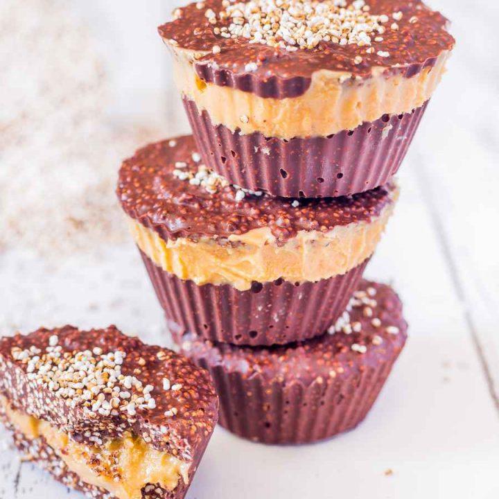 Amaranth Crunch Cups with Peanut Butter   Vegan, Gluten-Free