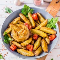 Oven-Baked Potato Fries with Lentil Hummus | Vegan, Oil-Free