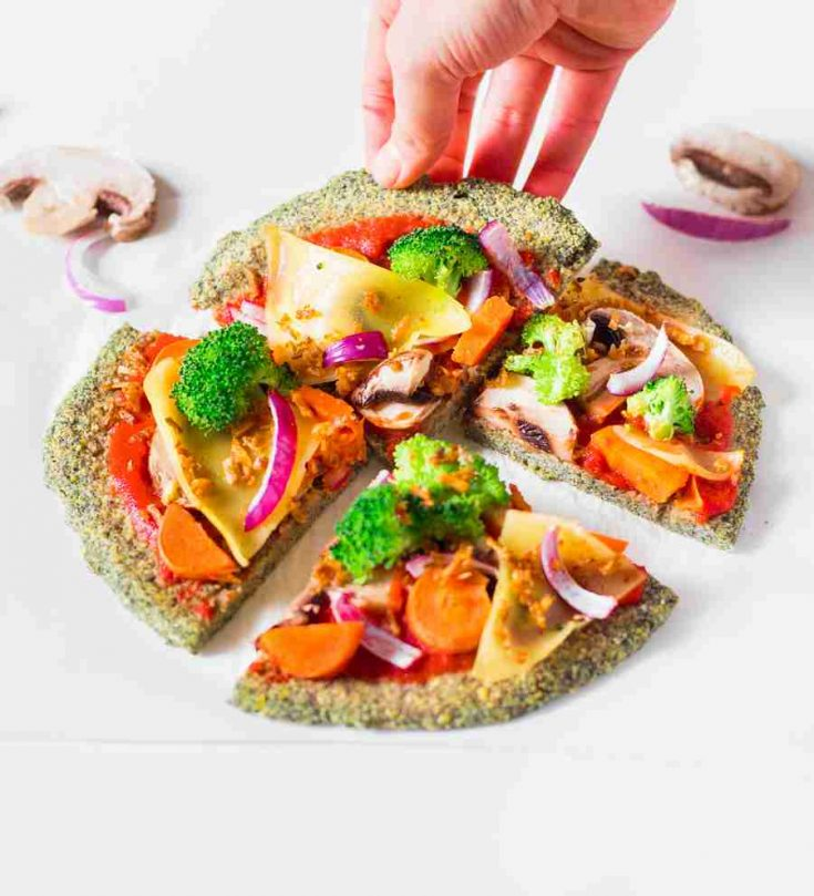 This Lentil Crust Pizza is a healthy and high-protein meal idea that is ready in 20 minutes! Vegan, gluten-free, oil-free and delicious!