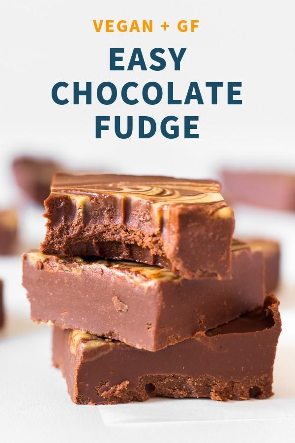 Vegan Chocolate Peanut Butter Fudge _ 3 ingredients, gluten-free, no added sugar