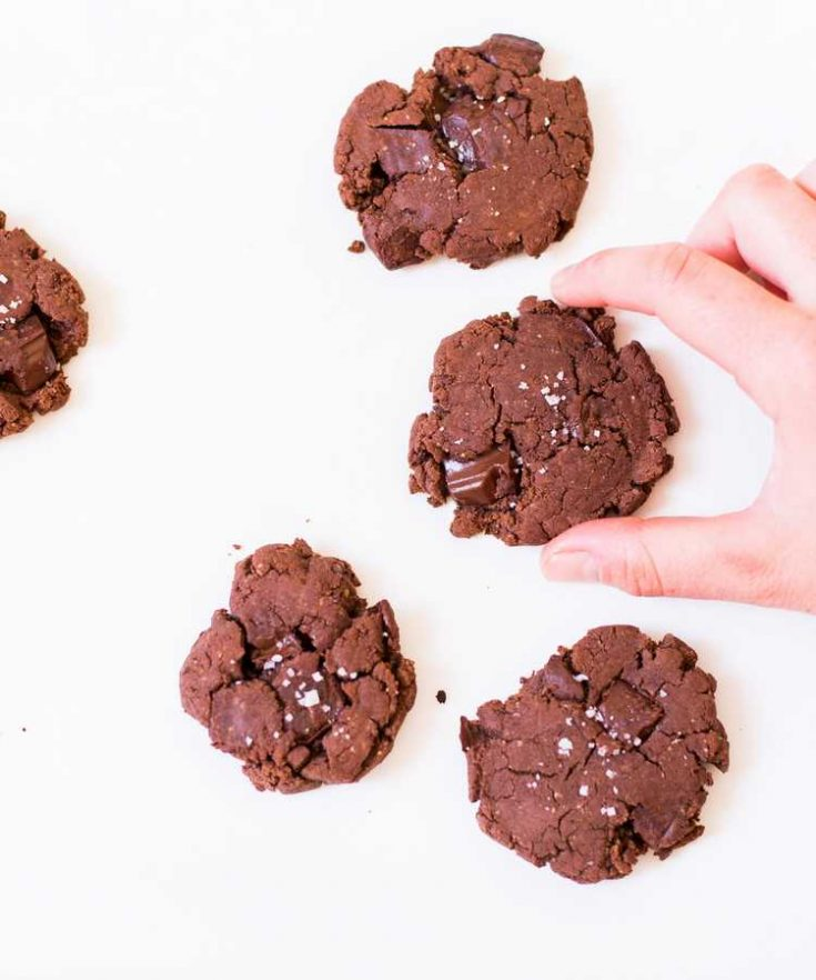 These Vegan Double Chocolate Cookies are gluten-free, oil-free and refined sugar-free! They are easy to make with simple ingredients, delicious and perfect for dessert.