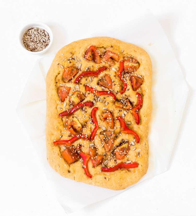 bell pepper tomato focaccia